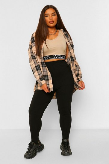 Black Plus Size Stirrup Leggings