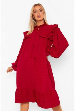 Berry Plus Ruffle Detail Pussybow Midi Smock Dress