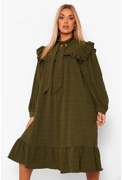 Khaki Plus Ruffle Detail Pussybow Midi Smock Dress