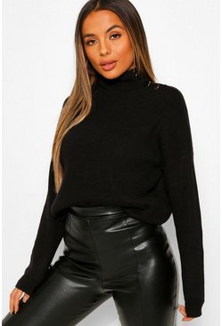 Black Petite Button High Neck Oversized Knitted Sweater