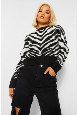 Petite Zebra High Neck Knitted Jumper
