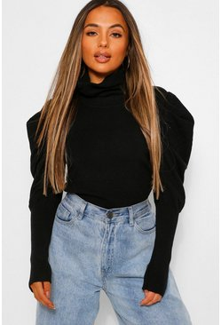 Petite Puff Sleeve Roll Neck Jumper, Black Чёрный