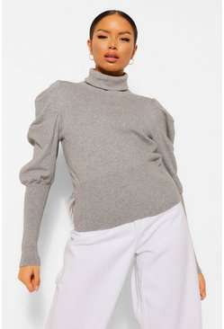 Grey Petite Puff Sleeve Roll Neck Jumper