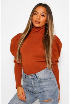 Petite Puff Sleeve Roll Neck Jumper, Rust orange