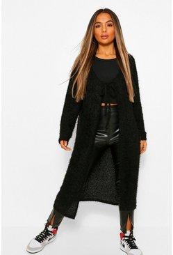 Black Petite Fluffy Knit Tie Front Cardigan