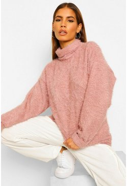 Rose pink Petite Fluffy Knit Roll Neck Jumper