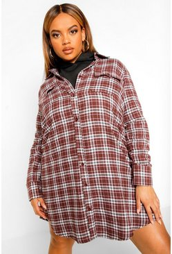 Plus Boyfriend Check Shirt Dress, Brown marron