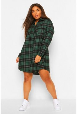 Green Plus Boyfriend Check Shirt Dress