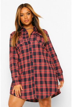 Navy Plus Boyfriend Check Shirt Dress