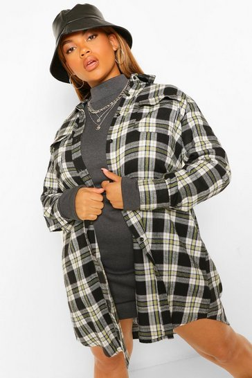 Black Plus Boyfriend Check Shirt Dress