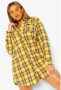 Mustard yellow Plus Boyfriend Check Shirt Dress