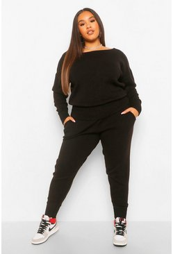 Black Plus Slash Neck Jumper And Jogger Set
