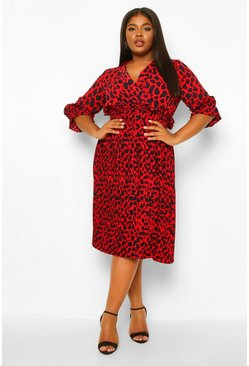 Red Plus Animal Pleated Midi Dress