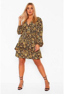 Black Plus Ruffle Hem Paisley Mini Dress