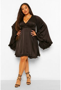 Black Plus Satin Ruffle Wide Sleeve Skater Dress