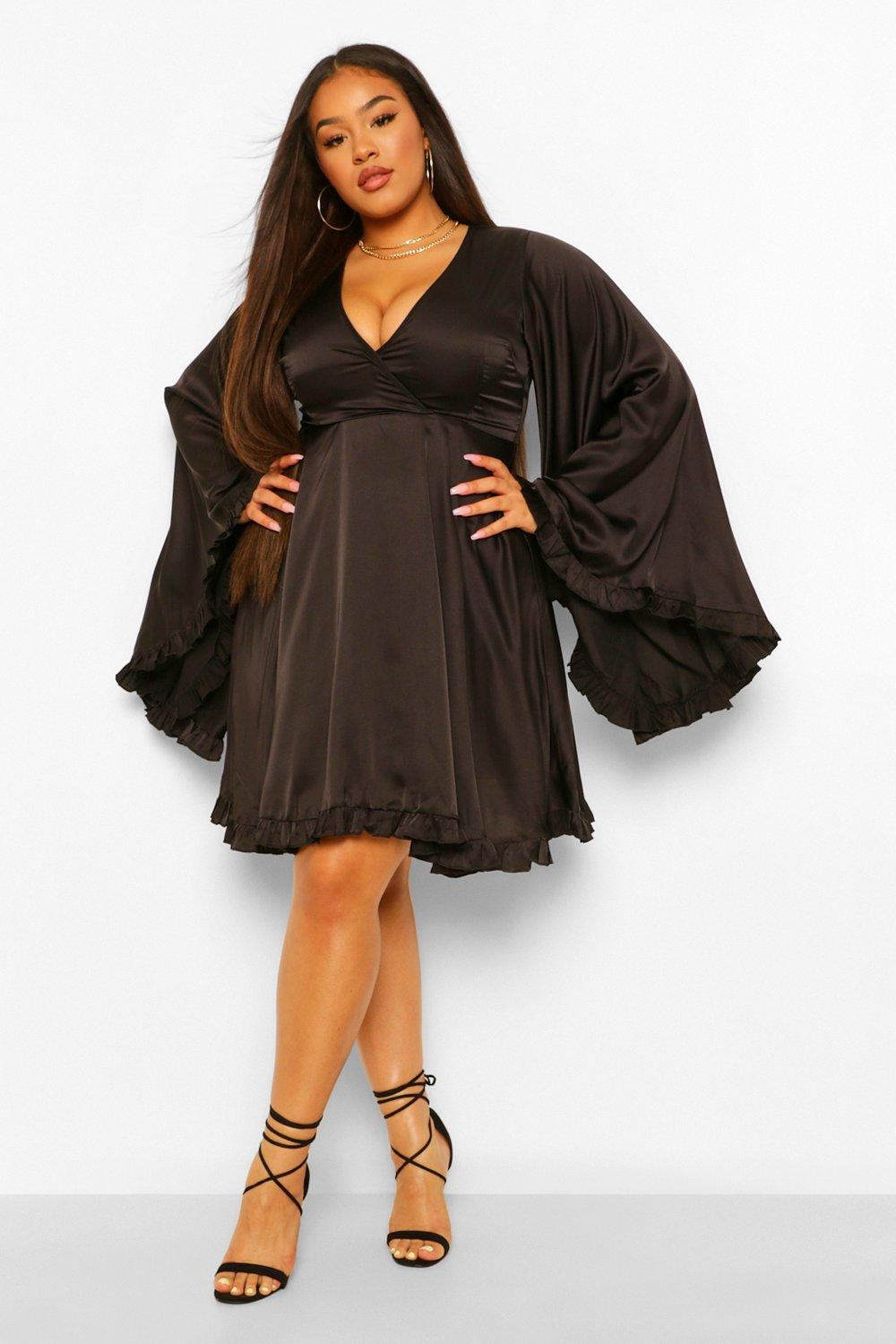 Plus Satin Ruffle Wide Sleeve Skater Dress 16