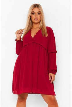 Berry red Plus Ruffle Detail Plunge Smock Dress