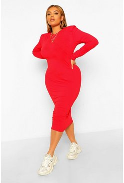 Red Plus Shoulder Pad Midi Dress