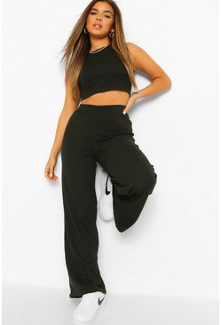 Petite Soft Knit Rib Wide Leg Trousers, Black Чёрный