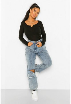 Black Petite Soft Knit Rib Notch Neck Top
