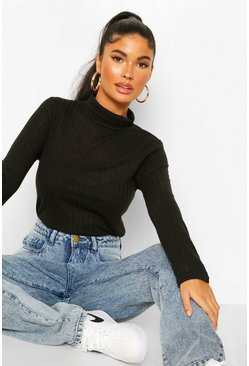 Black Petite Soft Knit Rib Roll Neck Top