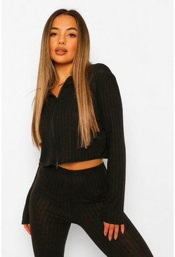 Black Petite Soft Knit Rib Zip Through Crop Hoody