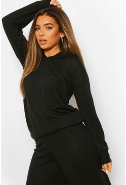 Black Petite Soft Knit Rib Oversized Hoody