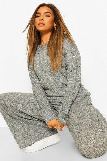 Grey Petite Soft Knit Rib Oversized Hoodie
