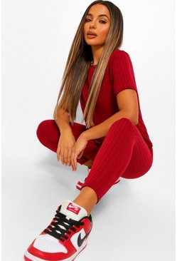 Berry Petite Soft Knit Rib T-Shirt and Leggings Set