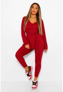 Berry Petite Soft Knit Rib Belted Top and Legging Set