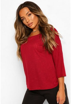 Berry red Petite Soft Knit Rib Slash Neck Top