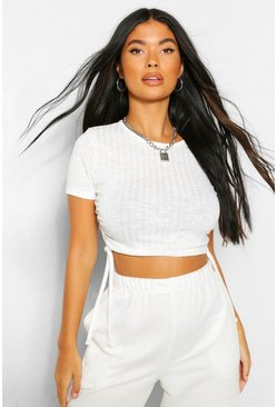 Ivory white Petite Soft Knit Rib Ruched Side Top