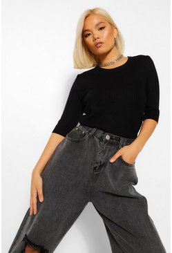 Black Petite 3/4 Sleeve Knitted Top