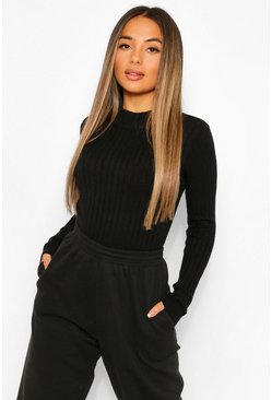 Black Petite High Neck Knitted Rib Top