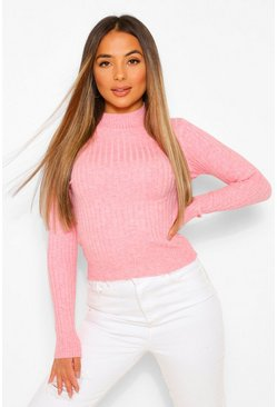 Pale pink Petite High Neck Knitted Rib Top