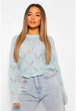 Blue Petite Cropped Pointelle Knitted Jumper