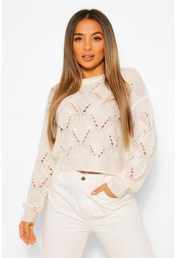 Cream Petite Cropped Pointelle Knitted Jumper