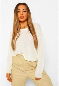 Ivory white Petite Oversized Knitted Jumper