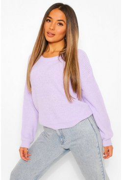 Lilac Petite Oversized Knitted Jumper