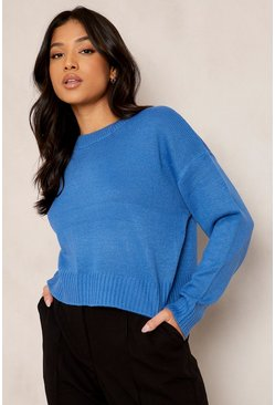 Blue Petite Round Neck Boxy Knitted Jumper