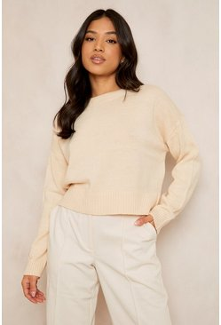 Stone beige Petite Round Neck Boxy Knitted Jumper