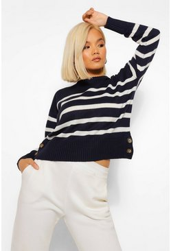 Navy Petite Stripe Boxy Knitted Jumper