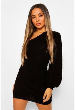 Black Petite One Shoulder Knitted Dress