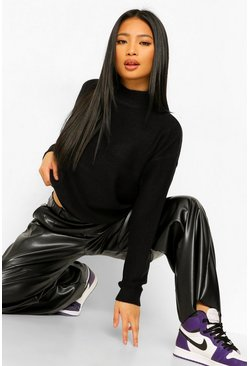 Black Petite High Neck Boxy Knitted Jumper