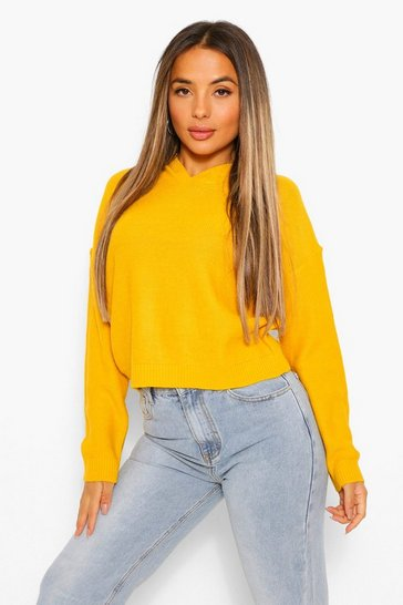 Mustard yellow Petite Knitted Hoody