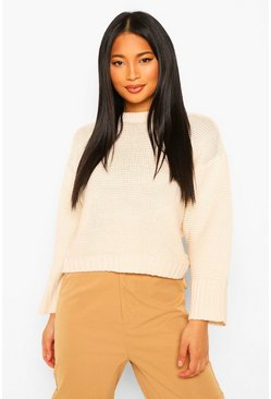 Cream Petite Drop Shoulder Knitted Jumper