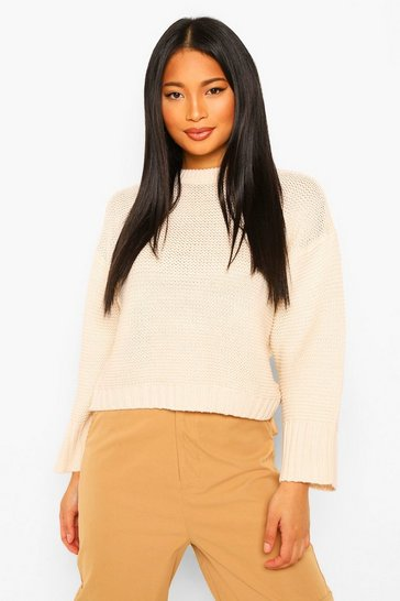Cream white Petite Drop Shoulder Knitted Jumper