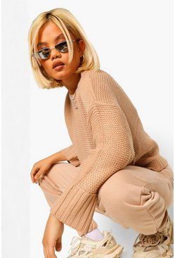 Petite Drop Shoulder Knitted Jumper, Sand beige