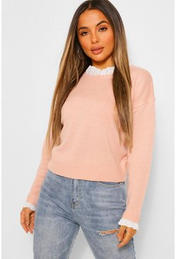 Rose pink Petite Woven Ruffle Collar Knitted Jumper
