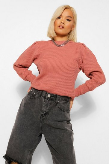 Rose pink Petite Crew Neck Knitted Jumper